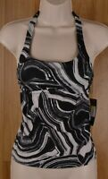 NWT Nike Black White Swirl Marbled Women's Tankini Swim Top Racerback