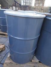 Metallfass Grau mit Deckel,  Feuertonne 200 Liter