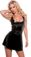 Eng anliegend sexy Schlank PVC Schwarz Kleid Fetisch Bondage Body Con Mini Kleid (INT)