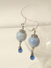 Koralle / Schaumkoralle Ohrringe Ohrhänger Brisuren Blue Drops Weiß Blau