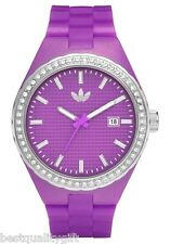 NEW ADIDAS PURPLE,MAGENTA & SILVER+CRYSTALS ACCENT DATE CAMBRIDGE WATCH-ADH2104