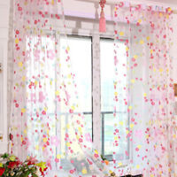 Floral Tulle Voile Door Window Curtain Drape Panel Sheer Scarf Valance Divider