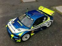 0108-CARROZZERIA BODY SUBARU WRX 1/8 SCALE GT RC CAR + SPOILER/ALETTONE