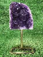 "6"" Amethyst Cluster Polished Crystal Quartz Natural Stone W/ Stand"