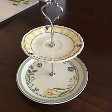 2 tier serving tray-vintage plates in blue, grrens, and yellow. Tea party