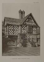 1904 Antik Aufdruck Shropshire Ein Gable Ende Von Pitchford Hall