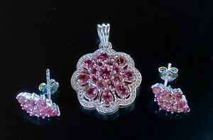 "Pink Tourmaline Set Earrings Pendant Sterling Silver 3.25 tcw stud 1 1/8"" dangle"