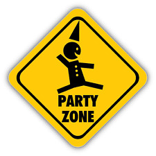"Party Zone Warning Sign Car Bumper Sticker Decal 5"" x 5"""