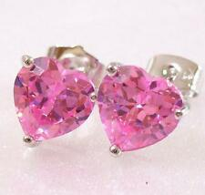 White Gold Plated Heart Stud Earrings Clear Black Red Blue Purple 5 6 7 8 10mm