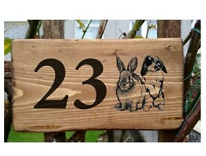 Personalised Rabbit Number House Name Plaque Bunny Sign Porch Conservatory