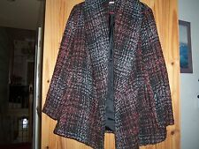 Lovely Black/Red White Wool Mix Coat Size 12