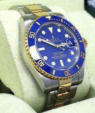 ROLEX Submariner 116613 18K Yellow Gold/Steel Blue Ceramic Watch B/PAPERS *MINT*