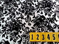 Cotton Fabric White Black Floral Retro Abstract Flower   150cm Wide - New by Dcf