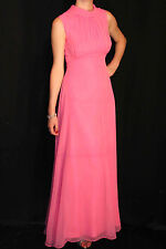 XS~S VTG 70s EMPIRE MAXI DRESS PINK CHIFFON OVERLAY DRAPE LONG PARTY PROM GOWN