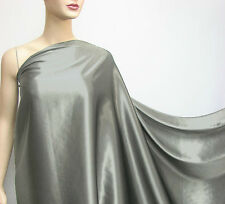 Metal Grey Color Pure Mulberry Silk Satin Charmeuse Fabric Per 0.5 Meter +button