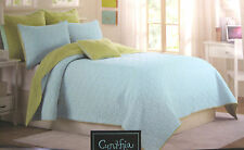 TWIN - Cynthia Rowley - Kaleidoscope Petals Aqua Green Cotton SHAM & QUILT SET