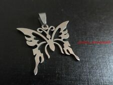 Lot 5pcs beautiful butterfly Charming pendant stainless steel Silver in bulk