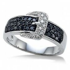 Black Diamond Belt Buckle Ring 10K White Gold  Black & White Diamond Band .50ct