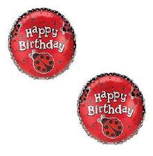 "LadyBug Lady Bug Jungle Red Black Dots Birthday Party (2) 18"" Mylar Balloons"