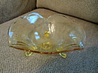 Vintage yellow glass Lancaster petal pattern bowl 3 footed excellent 8.5""
