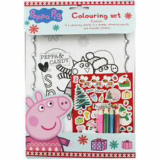 Peppa Pig Christmas Colouring Set Kids Activity Stickers Stocking Filler Gift