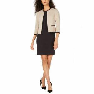 LE SUIT Women's Tan/black Piped Textured Jacket & Dress Suit Two-Piece 10 TEDO