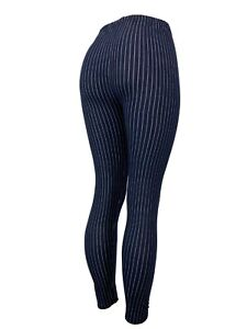 Pinstripes Navy Blue & White Lines Leggings One Size OS