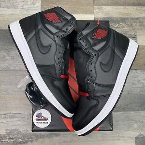 Nike Air Jordan 1 Retro High Black Satin Gym Red 555088-060 Size 9