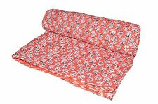 Indian Ethnic Ajrak Kantha Quilt Hand Block Print Reversible Cotton Bedspread