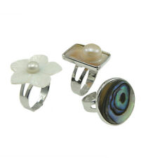 Wholesale Lot 8 Mixed Adjustable Mother of Pearl Iridescent Paua Shell Rings