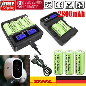 2800mAh Li-ion CR123A 16340 Wiederaufladbare Akku LCD Ladegerät für Arlo Kamera
