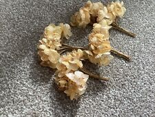 50 Small Gold Coloured Silk And Bead Flowers
