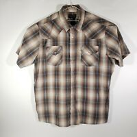 High Noon Men's Pearl Snap Shirt Brown/Beige Plaid Western 2XL Tall