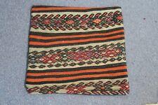 "Turkish Anatolian Kilim Pillow Cushion Hand Woven Wool 18"" x 18"" New Zipper Back"