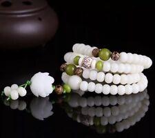 Malasation White Bodhi 108 Mala Beads Bracelet Necklace Lotus Elastic Meditation