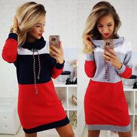 Womens Autumn Winter Long Sleeve Jumper Sweater Party Bodycon Slim Mini Dress