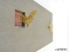 Cuckoo Clock Golden Bird, Concrete and Wood - Rectangle Wall Clock