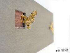 Cuckoo Clock Golden Bird, Concrete and Wood - Rectangle Wall Clock