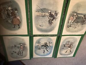 set 6 water colour drawings pictures of 1820s by Tom Browne