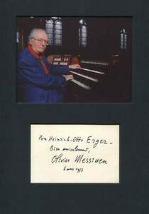 COMPOSER Olivier Messiaen autograph, signed card mounted