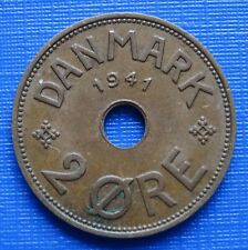 More details for faeroe islands 2 ore coin~1941 christian x denmark ww2, bronze 3.8g~km#2~ef~#452