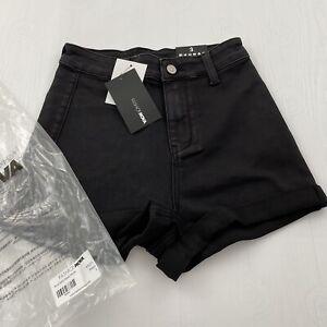 Fashion Nova Rock Solid Denim Shorts - Black Jr Size 3