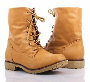 Camel Color Faux Leather Lace Up Military Mid-Calf Womens Combat Boots Size 8
