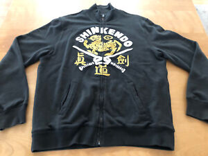 Martial Arts Shinkendo Vintage Styled Zip Jacket by Lucky Brand Black Size M