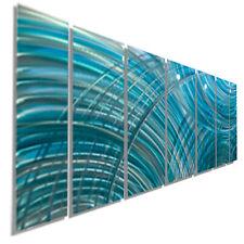 Large Metal Wall Art - 7 Panels -  Abstract Modern Light Blue Painting Jon Allen