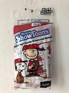 vintage hanes boys showtoons charlie brown snoopy briefs size 6 NOS 1985 peanuts