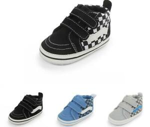 Newborn Infant Sneakers Baby Boys Girls High Top Pram Shoes PreWalker Trainers