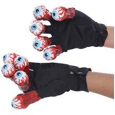 Beetlejuice Costume Gloves with Eyeballs Adult Halloween Fancy Dress