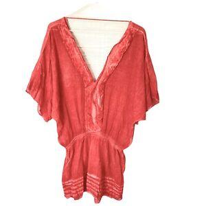 SOFIA By Vix Red Gauzy Swim Cover Up Short Dress Elastic Waist V-Neck Swimsuit