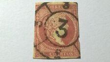 ESPAÑA 1855 ISABEL II  4 CUATOS ROJO  USADO  VER IMAGE VISITA MI TIENDA